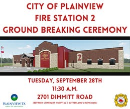 The city of Plainview will break ground on its new fire station on Tuesday.
