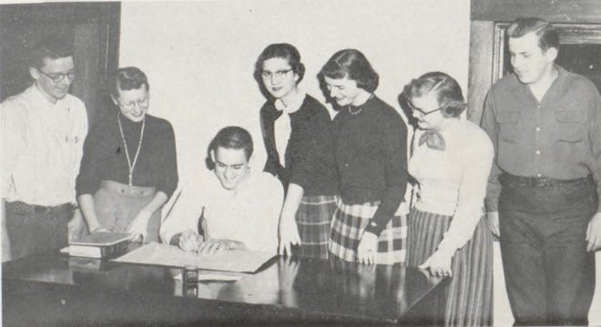 Pictures of the Past is from the 1955 Lincoln Community High School yearbook. Shown are students who were the 316 helpers. From left are: David Goldhammer, Madeline Salyers, Kenny Bradley, Jean Goodrich, Mary Lou Martin, Myra Lehner and John Kleinman. These students assisted study hall teachers by picking up excuses and running errands.