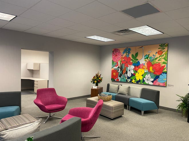 The lobby of the new office space located at 9 Washington St. that houses four Monroe County non-profit organizations.