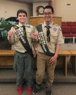 Piedmont High School freshmen Nathan Berger, at left, and Noah Ferguson have earned the rank of Eagle Scout.