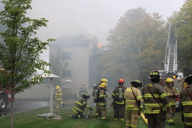 The Captain's Watch condos on Park Avenue in downtown Charlevoix caught fire the morning of Sept. 23. The fire caused extensive damage to the property.