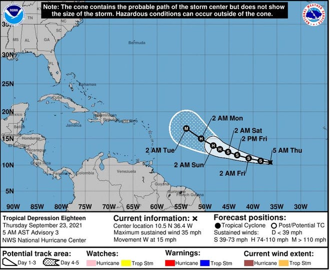 Tropical Depression 18 could be named Sam today.