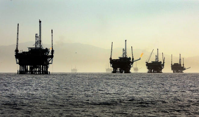 A line of off-shore oil rigs in the Santa Barbara Channel near the Federal Ecological Preserve en route to the Channel Islands National Marine Sanctuary in March 2015. (Al Seib/Los Angeles Times/TNS)
