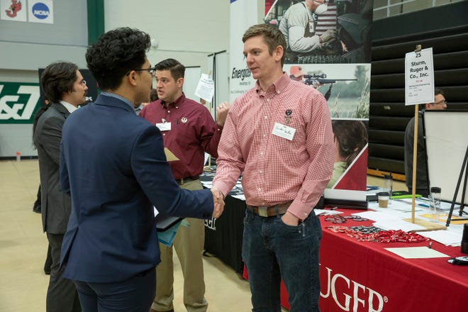 The Missouri S&T spring Career Fair in 2020. Photo taken prior to COVID-19 guidance. Photo by Tom Wagner/Missouri S&T.