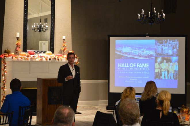 Mike Crawford of the Hall of Fame Village speaks to attendees during Alliance Area Development's annual meeting on Tuesday, September 21, 2021.