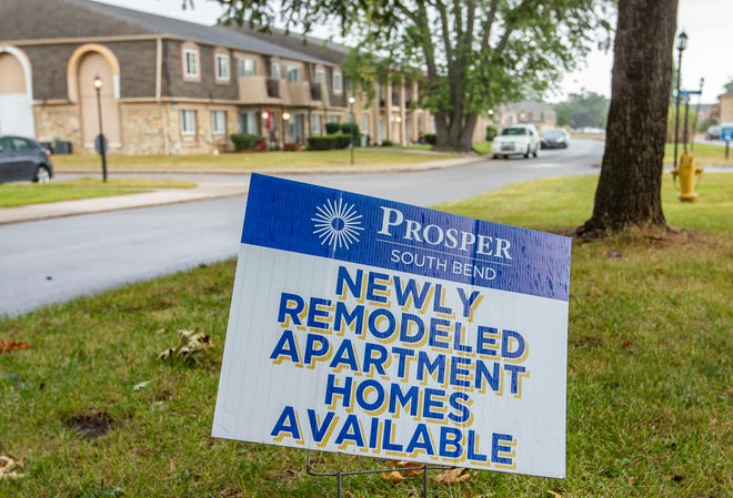 A sign advertising newly remodeled apartments at the Prosper apartment complex in South Bend.