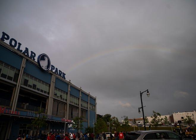 A rainbow over Polar Park ahead of the WooSox game on Wednesday.