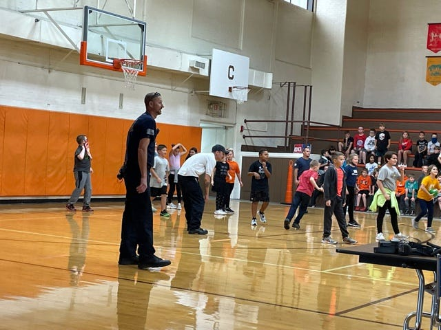 First responders from the Twin Cities area joined students for a game of dodge ball after the 922 Day lunch.