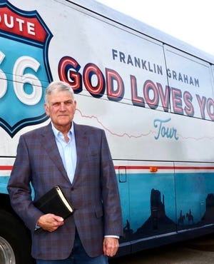 """As part of the """"Route 66 God Loves You Tour,"""" evangelist Franklin Graham will speak on Oct. 2, 2021, at the National Orange Show Event Center in San Bernardino."""