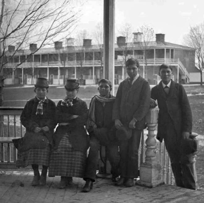 The first Sisseton area students to arrive at Carlisle Indian School in 1879 were, from left, Nancy Renville, Emily Justine LaFramboise, Edward Upwright, John Renville, George Walker and, not pictured, Amos LaFramboise.
