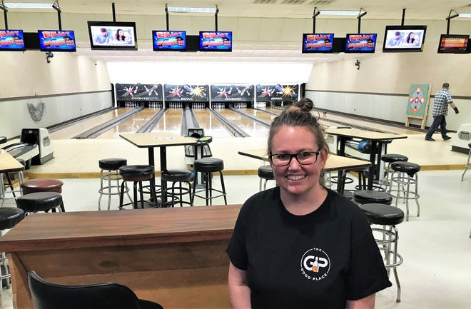 """Michelle Good, along her husband Ryan, is the new owner of the bowling center in Oconto, which has been renamed """"The Good Place."""""""