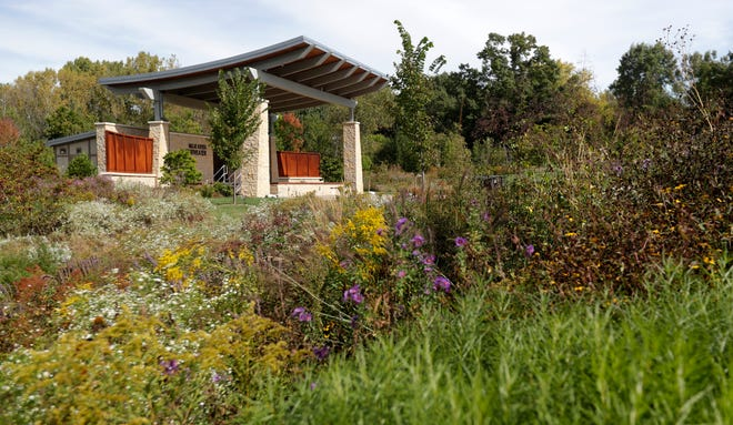 Native plantings in the Schneider Family Grand Garden surround the Billie Kress Amphitheater at Green Bay Botanical Garden.