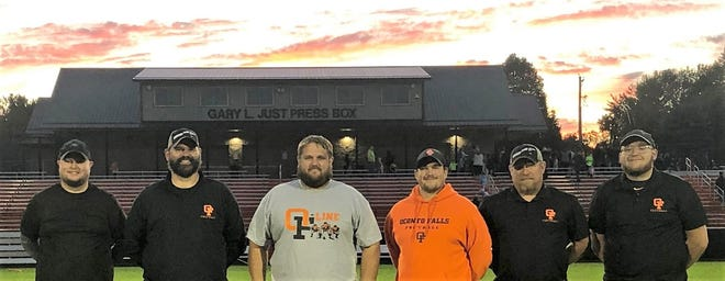 The football coaching staff at Oconto Falls High School, from left, are Zach Beyer, Mike Kallies, Nick Bohl, Jeremy Seelig, Leo Kramer, and Blake Vanvooren. Bohl, the head coach, was named the Green Bay Packers Coach of the Week on Wednesday afternoon.