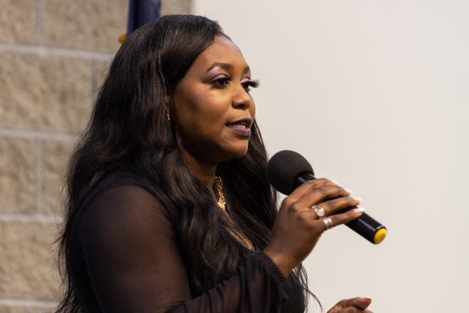 Indiana Chief Equity, Inclusion and Opportunity Officer Karrah Herring speaks during a diversity, equity and inclusion summit held at Martin University. During the event, Herring met with private and public sector professionals from around the state to discuss strategic opportunities to implement DEI initiatives.