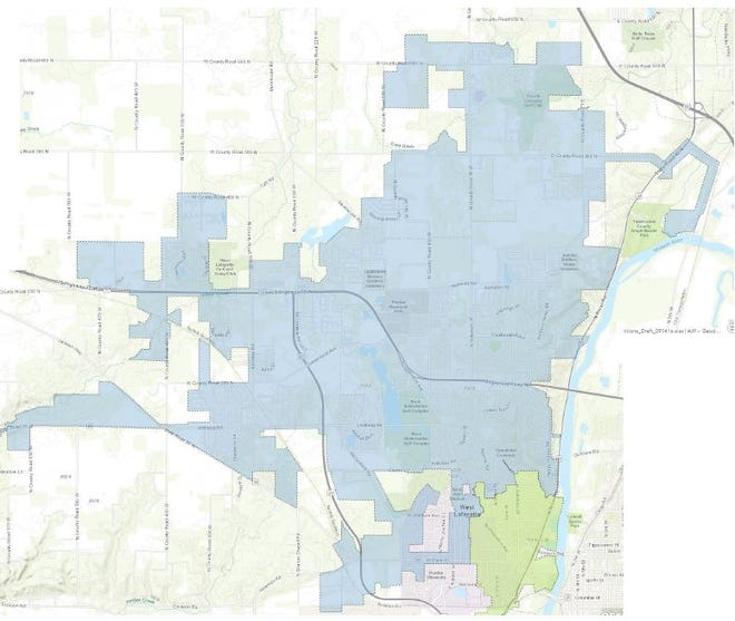 The area shaded blue indicate the Indiana American Water Co. customers affected by the boil advisory, which should  last until Friday morning.