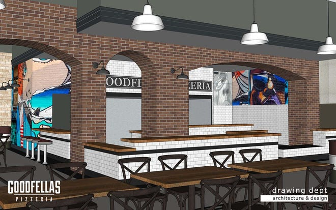 Goodfellas Pizzeria is planning to open a restaurant at 650 Baxter Ave. in December. This is a rendering of the dining space.