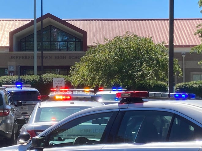Police responded Thursday, Sept. 23, 2021, to Jeffersontown High School due to a lockdown situation prompted by a juvenile entering the building possibly with a gun. No injuries were reported, and officials said the reports of the juvenile having a gun were unconfirmed.