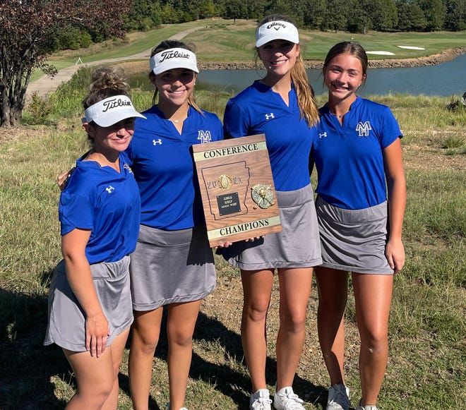 Mountain Home's girls golf team won its fifth consecutive conference championship on Wednesday at Cabot. Pictured are: (from left) Mary Beth Rogero, Ella Brashears, Reagan Webb and Faith Hilvert.