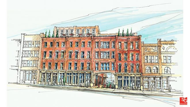 A rendering of a portion of Second Avenue in downtown Nashville.