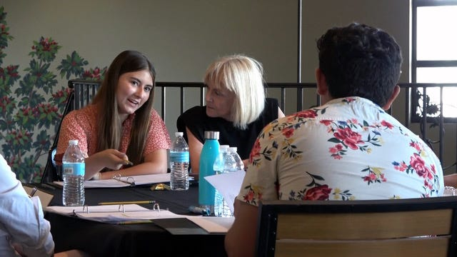 Palm Springs Young Playwrights Festival director Deborah Harmon works with 2020 finalist Ava Hemstreet.