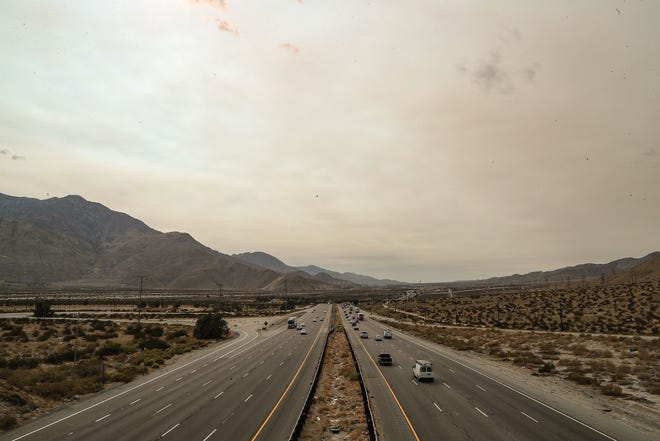 Smoke from distant wildfires muddies the skies over the Coachella Valley and Interstate 10 near Whitewater, Calif., Thursday, September 23, 2021.