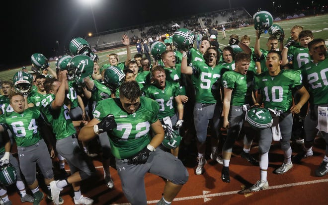 Thatcher celebrates after winning its third straight 2A State Championship Football game at Campo Verde High School in Gilbert, Ariz. on November 23, 2018. #azhsfb