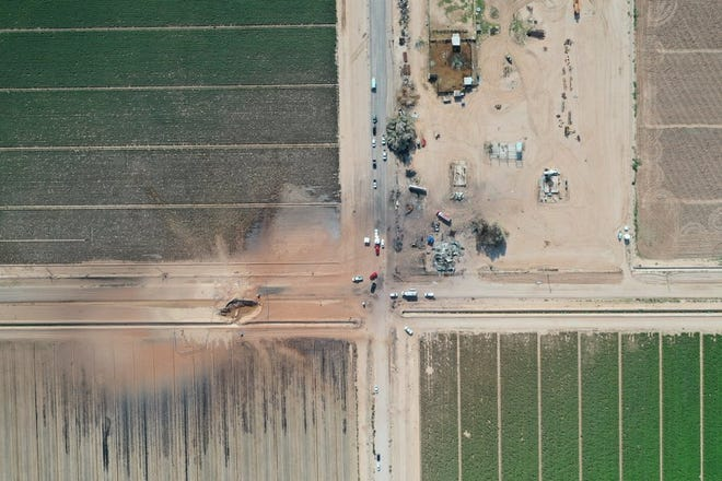 Overhead shot of where a pipeline burst in Coolidge.