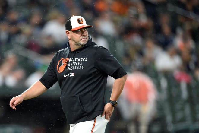 Baltimore Orioles manager Brandon Hyde looks back at the pitchers mound in a baseball game Thursday, Sept. 16, 2021, in Baltimore. (AP Photo/Gail Burton)