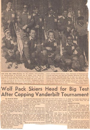A newspaper clipping from when Don 'Snoshu' Thompson competed on the UNR ski team.
