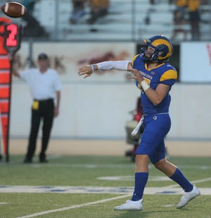 Angelo State University quarterback Hagen Garvin throws a pass during a game against Midwestern State at LeGrand Stadium at 1st Community Credit Union Field on Saturday, Sept.  18, 2021.