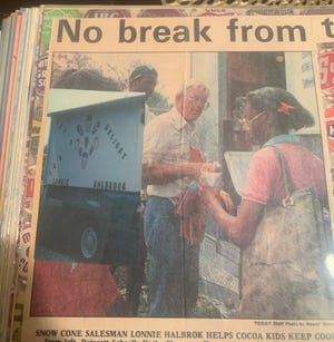 """Brevard resident Lonnie Halbrook, better known as """"The Snow Cone Man"""" in the '60s and '70s, is pictured in an undated Today (later FLORIDA TODAY) newspaper. Locals who grew up buying icy treats from Halbrook, who died Aug. 25, have shared warm memories of him on social media for years."""