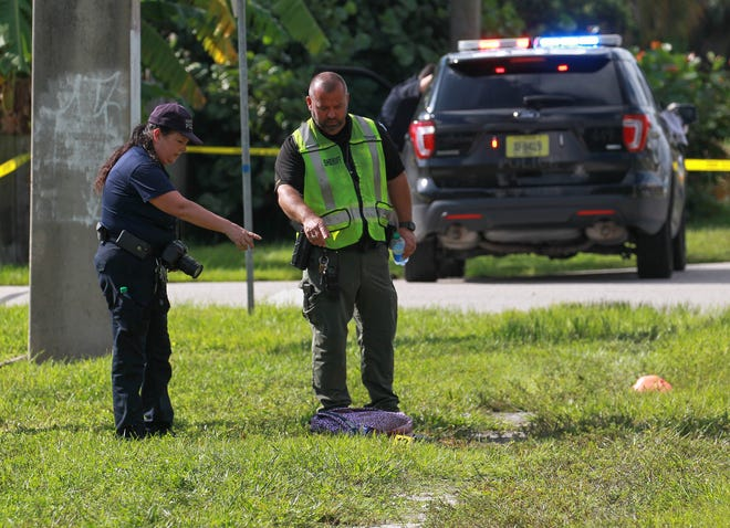 Fort Pierce Police officers and detective, along with St. Lucie County Sheriff's Office crime scene investigators, investigate the scene of a hit and run incident along the 3300 block of Oleander Avenue at Skylark Drive on Thursday, Sept. 23, 2021, in Fort Pierce