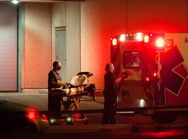 AMR medics and Wichita Falls Fire Department first responders went to the Wichita County Jail Wednesday night after a man reportedly injured himself while in the back of a Wichita Falls Police Department patrol vehicle.