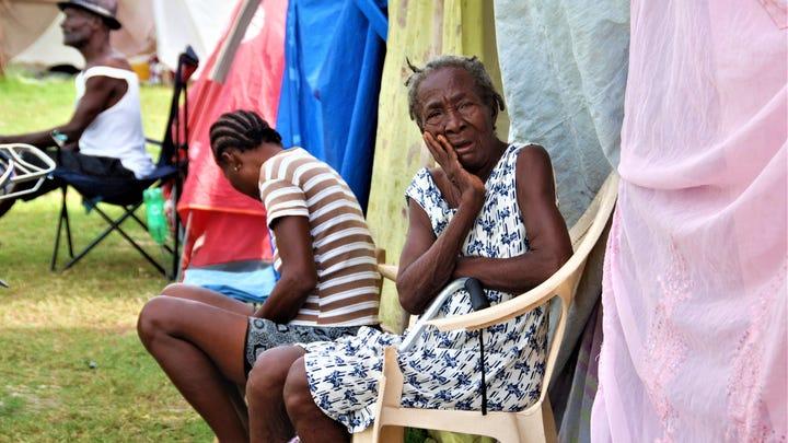 Women at the Gabion camp in Haiti.