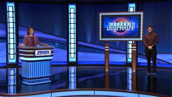 Jeopardy host Mayim Bialik with champ Matt Amodio from Medina.