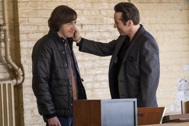 """Tony Soprano (Michael Gandolfini) talks with his Uncle Dickie Moltisanti (Alessandro Nivola) in """"The Many Saints of Newark."""""""
