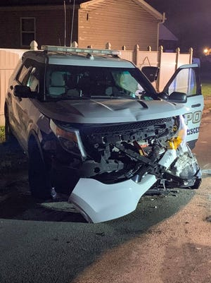 An officer on patrol in Crescent Township was hit in a head-on collision Thursday night. The officer inside the patrol car was rushed to the hospital after the incident.