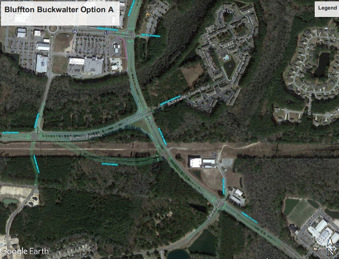 The first option presented to Town Council for the Bluffton/Buckwalter parkway intersection realignment.