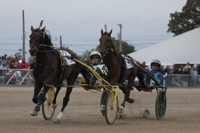Yannick Gingras drives Lou's Pearlman (2) across the finish line in first place with driver Andrew McCarthy and Which Way to the Beach (5) close behind on Thursday.