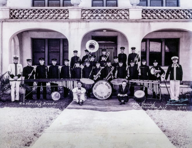 The Daytona Beach Municipal Band in the 1930s. Band director Ray Eberling is in white uniform at left and Charles Herring, city recreation department head, is at right with braid. A Richard Lesesne photo
