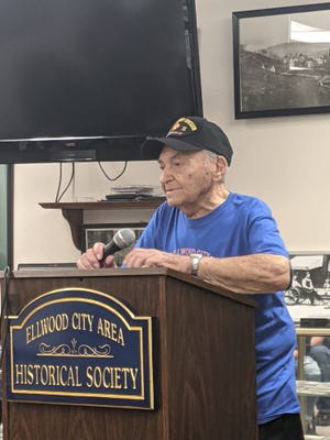 North Sewickley Township War World II veteran Guy Prestia, 99, speaks about his experiences during the war at the Ellwood City Area Historical Society.