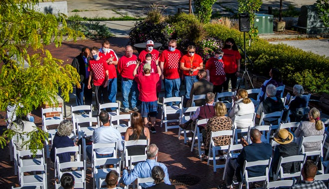The All Abilities Choir performs Thursday evening at the United Way fundraising campaign kickoff outside The Mill in downtown Bloomington.