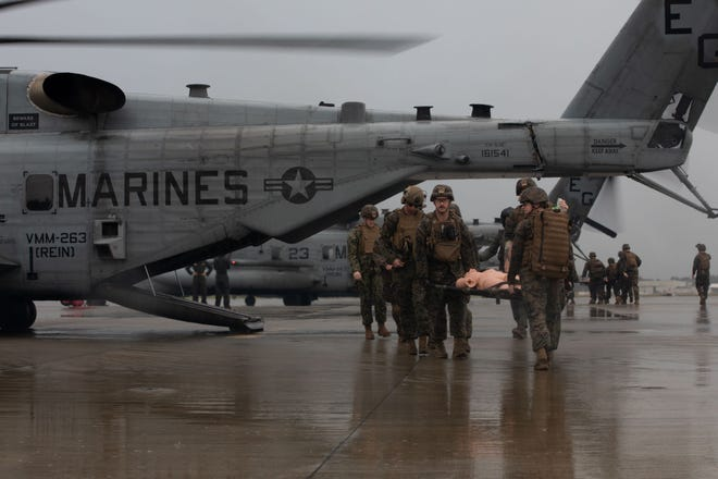 U.S. Navy Sailors assigned to the 22nd Marine Expeditionary Unit participate in a Tactical Evacuation Course in support of Realistic Urban Training at Marine Corps Air Station New River, Sept. 22, 2021.