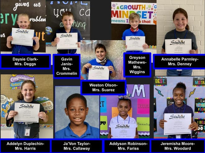 Pinewood Elementary Students of the Month.