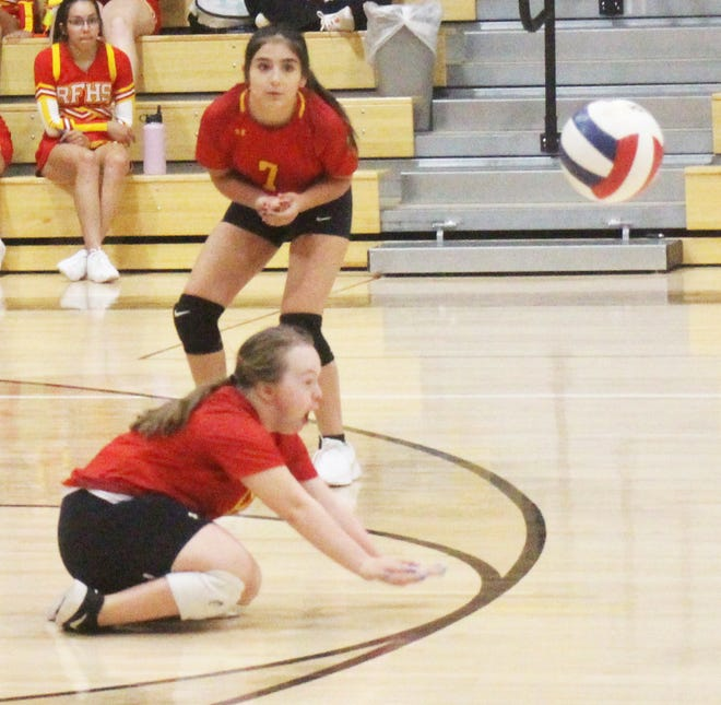 Rocky Ford High School's Tash Mendoza-Werner goes for a dig for the Meloneers' C team in a match against Fowler on Thursday, Sept. 23, 2021.