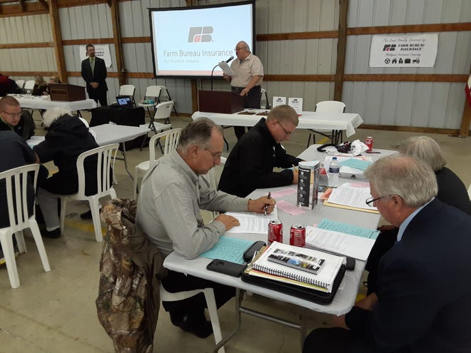 Members of the Monroe County Farm Bureau voted on more than 20 policy resolutions on matters affecting roads, law enforcement , immigration and other issues during their annual meeting held in the South Exhibit Building at the Monroe County Fairgrounds Thursday night.