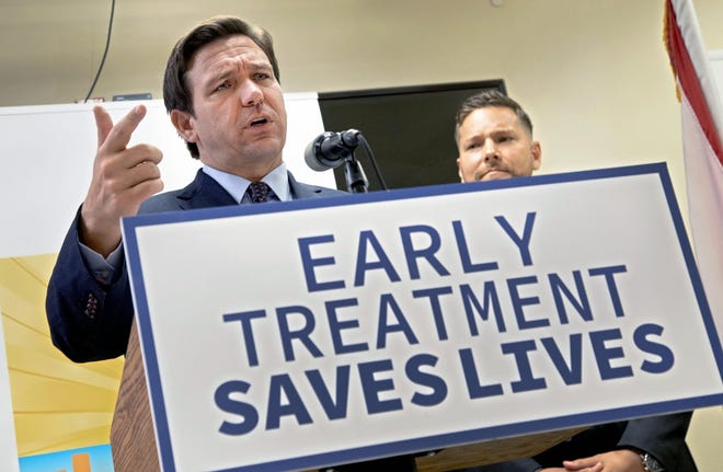 Florida Gov. Ron DeSantis promotes monoclonal antibody treatments at the Florida Department of Health office in West Palm Beach on Sept. 2.
