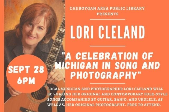 """Lori Cleland will be sharing her original and contemporary folk-style songs with her """"Celebration of Michigan in Song and Photography"""" program on Sept. 28."""