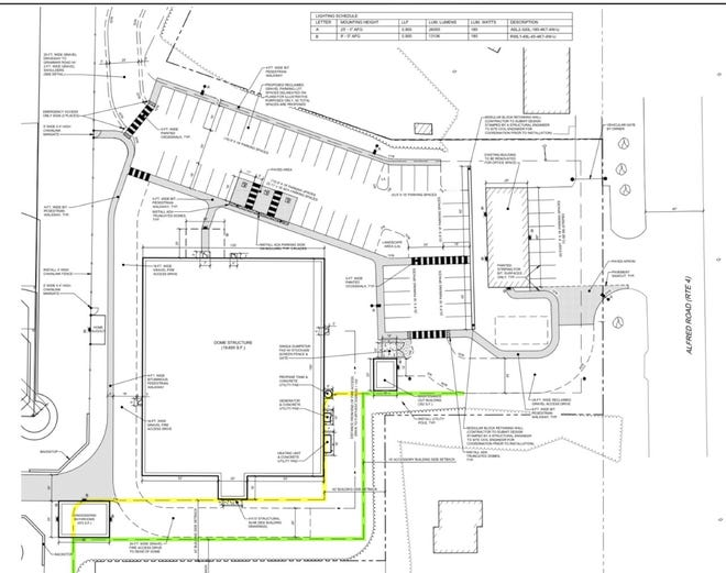 The layout of the new athletic facility that 4Square LLC will build at 414 Alfred Road on Route 4 in Sanford, Maine, is shown in these planning documents. The large square near bottom left is for a large, inflated dome that will have a baseball field inside. Not seen here are two outdoor ballfields, also planned for construction, behind the dome. The facility is expected to open in late 2021, with additional work planned thereafter.