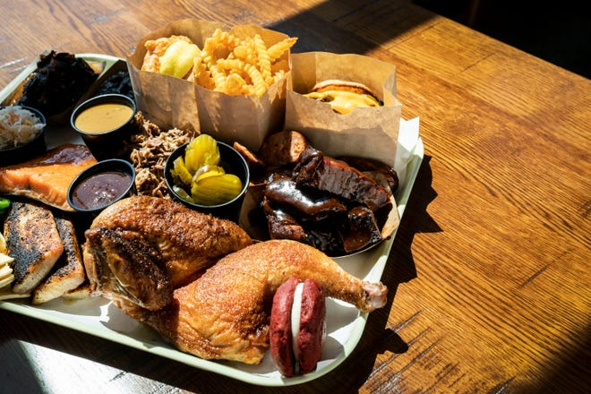 A tray of barbecue love at Tropical Smokehouse.